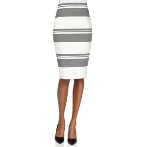 ELIZABETH & JAMES Gray White Striped Pencil Skirt